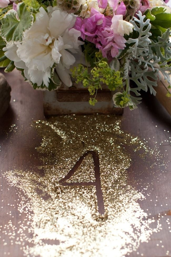 Table Numbers in Glitter!
