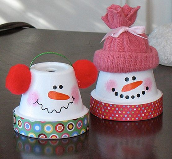 Easy winter craft. Use clay pots and paint then accessorize.