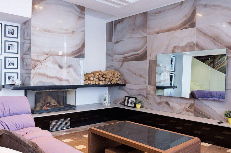дизайн проект гостиной - зеркальный телевизор