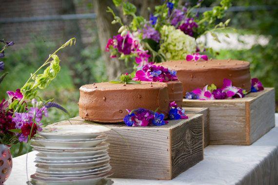 Wedding Cake Stand. Wood Cake Pedestal OR Display Goodies Pillar Pedestal Custom Sized To Fit Recycled Cedar