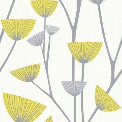Dandelion Wallpaper in Grey and Yellow with a Textured finish by Schoner Wohnen