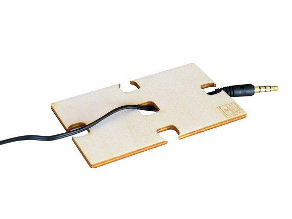 Geeky Minimalist Laser cut wood Earphone holder by DigitalHandmade