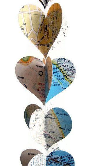 WHOLESALE- Map Heart Garlands- Repurposed Vintage National Geographic Atlas- 10 Handmade Mini Map Heart Decorations. $35.00, via Etsy.