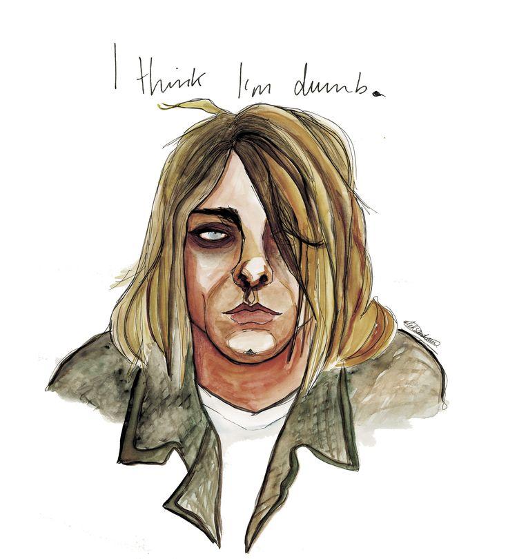 «Dumb», #Nirvana by @aleksandravss  #kurtcobain #figurative #art #expressionism #watercolor #ink #aleksandrav
