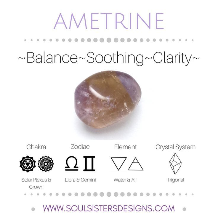 Metaphysical Healing Properties of Ametrine, including associated Chakra, Zodiac and Element, along with Crystal System/Lattice to assist you in setting up a Crystal Grid. Go to https:/soulsistersdesigns.com to learn more!