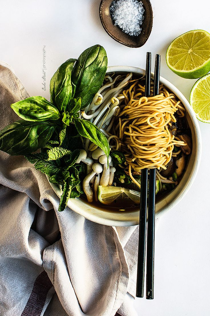Vegetarian Pho, Vietnamese soup with noodles. Made with vegetable broth, cinnamon, cloves and star anise. Serve with fre…