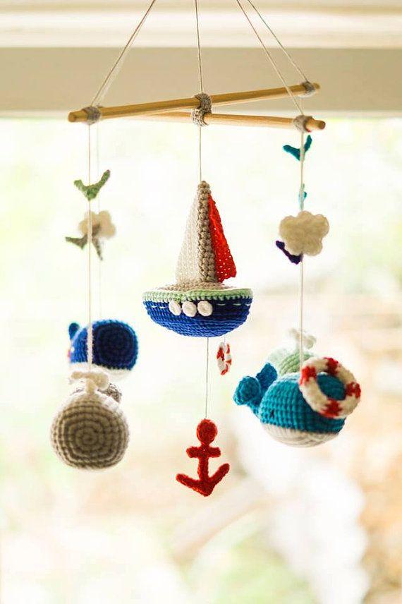 Wanderlust adventures Nursery art Mobiles Baby mobile Whale crochet baby mobile Sea mobile Sailboat mobile Ocean mobile Nautical nursery