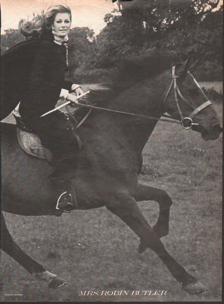 Original Vogue print, 1960s photo with Mrs. Robin Butler riding a black horse, 2-page spread - AN 018 by PaperDhamma on Etsy https://www.etsy.com/listing/219296386/original-vogue-print-1960s-photo-with