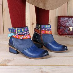 Designer SOCOFY New Printing Retro Splicing Plant Pattern Flat Leather Boots - NewChic Mobile