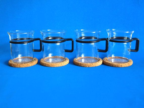 Bodum Glass Tea Coffee Mugs with Black Handle & Cork by FunkyKoala