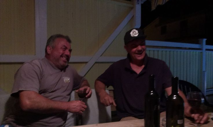 My 2 funny neighbours one late night at Villa Solsikke enjoying good wine