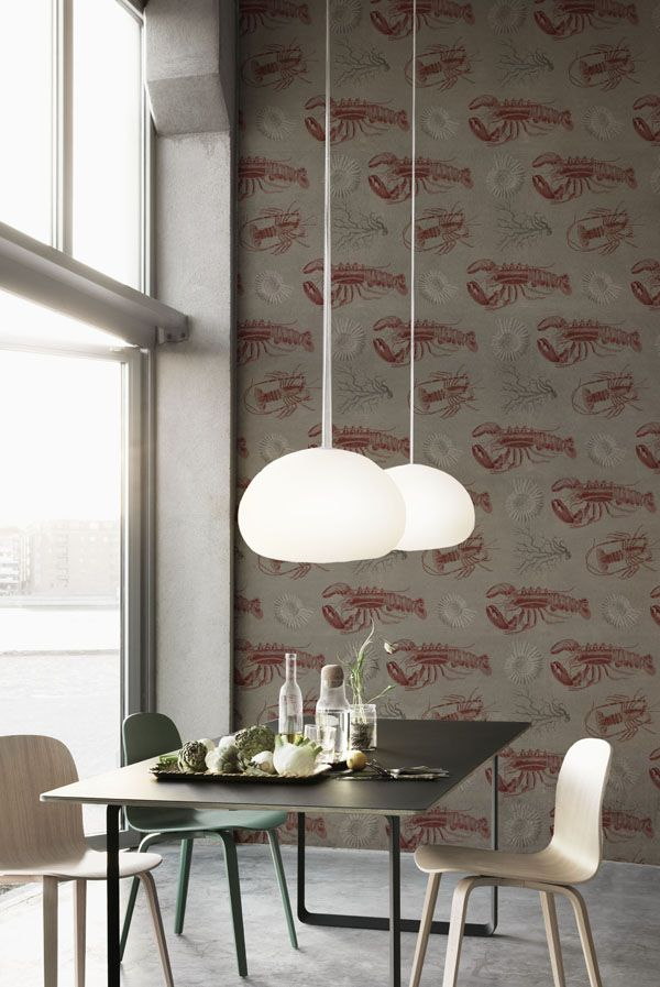 LOBSTER Taupe Wallpaper from SEASIDE Collection by MINDTHEGAP