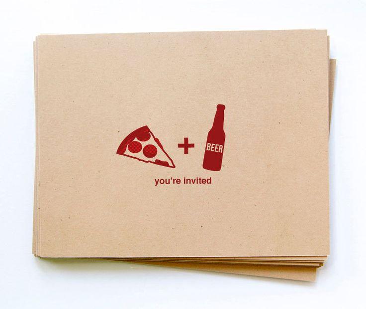 12 pizza & beer party invitations, custom color on kraft postcard. $13.50, via Etsy.