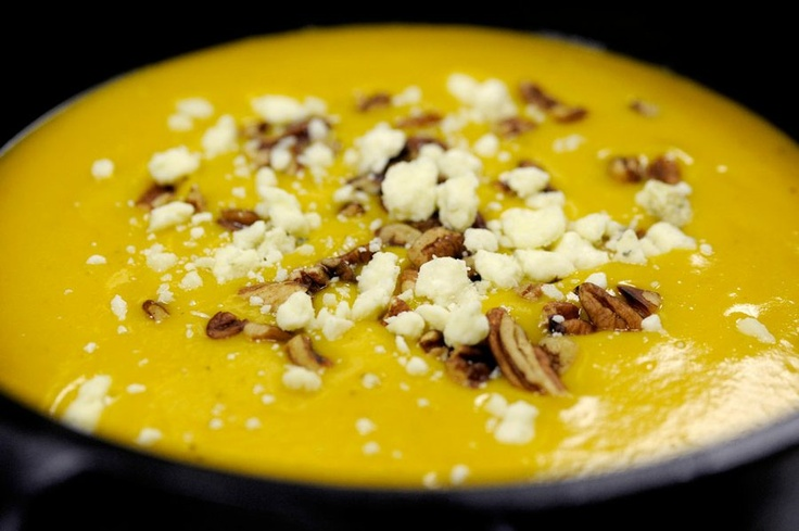 butternut squash and chestnut soup topped with chopped pecans and blue ...