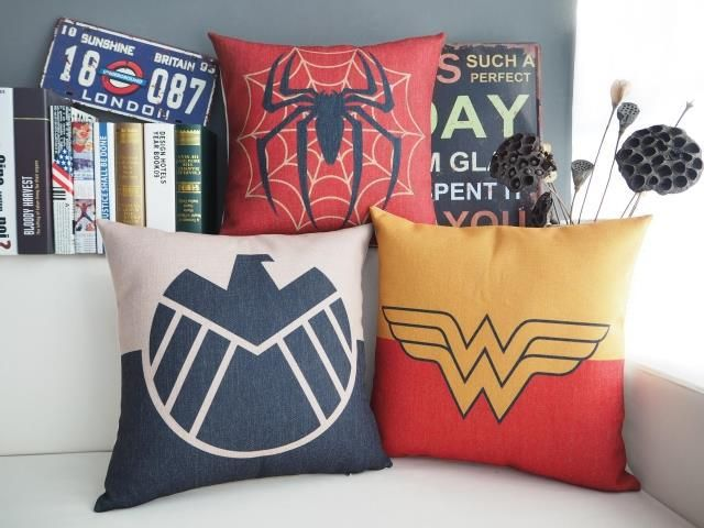 Wonder woman pillow cover, spiderman Wonder woman Aegis Bureau superhero throw pillow case pillowcase wholesale #Affiliate