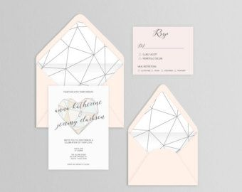 Geometric wedding invitation suite with foil stamping