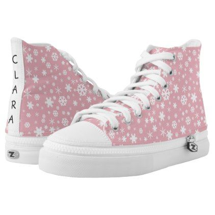 Elegant Christmas snowflake pattern pastel pink High-Top Sneakers - modern gifts cyo gift ideas personalize