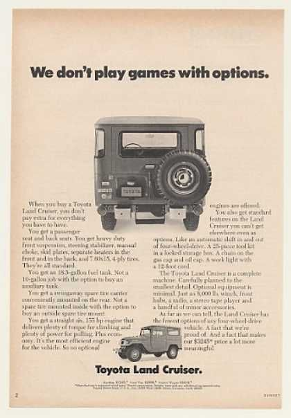 "Toyota land cruiser ad- ""we don't play games with options"""