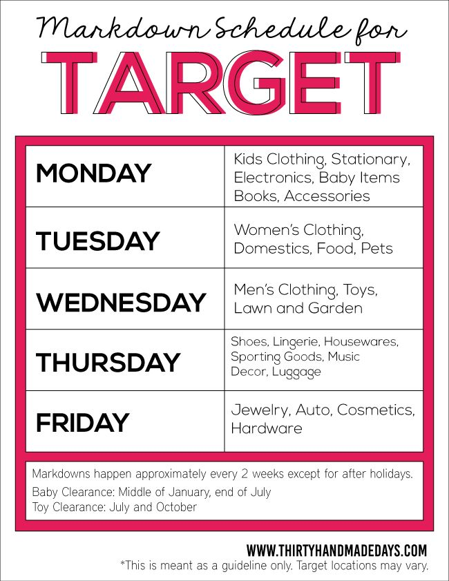 10 Secrets To Saving Money At Target ... Target Markdown Schedule for saving…