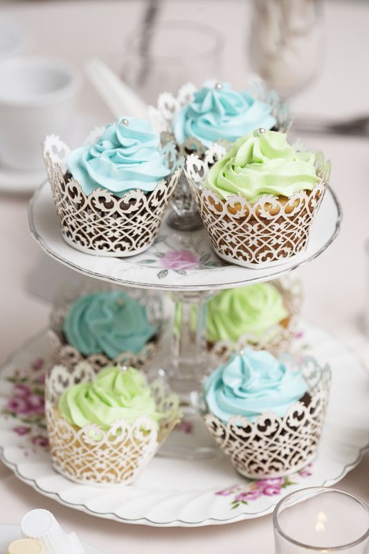pale blue and green cupcake tiers