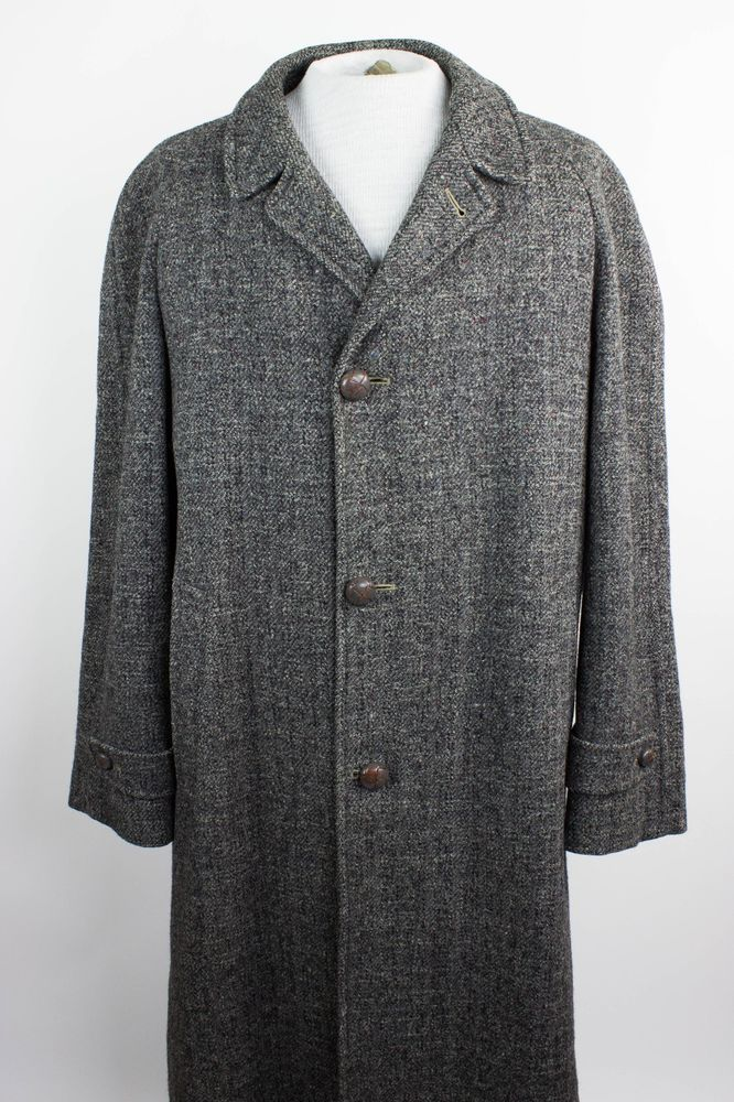 Vintage Harris Tweed Mens 44? Gray Pure Scottish Wool Overcoat Trench Coat  #HarrisTweed #Trench