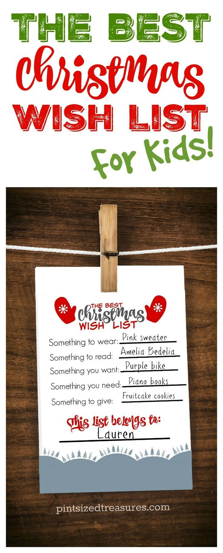 Encourage kids to be thoughtful this year in their Christmas wish list adventures! Check out this adorable printable that parents AND kids love! Print it out, fill it out and hand it on your fridge! It's cute enough to frame as well as a keepsake!