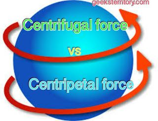 "Centripetal and centrifugal force; differences comparison and examples    Are you a little bit confused about the differences between centripetal and centrifugal force? Well then carry on.  Centripetal Force  Definition:    It is defined as that inward force requiredto keep objects moving with a constant speed in a circular path.  Formula:     F = mv2/r  V = rw  F  = mrw2    Where ""F"" is the centripetal force""m"" is the mass of body ""v"" is the velocity at  which the body is moving ""r"" is the…"
