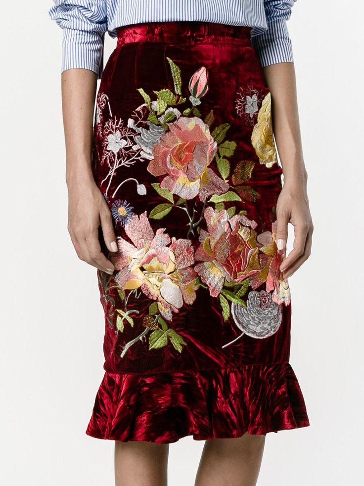 Alice Archer 'Delia' velvet skirt