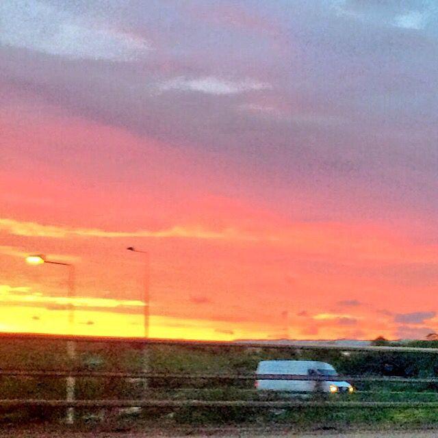 Stunning sunrise over Heathrow Airport.