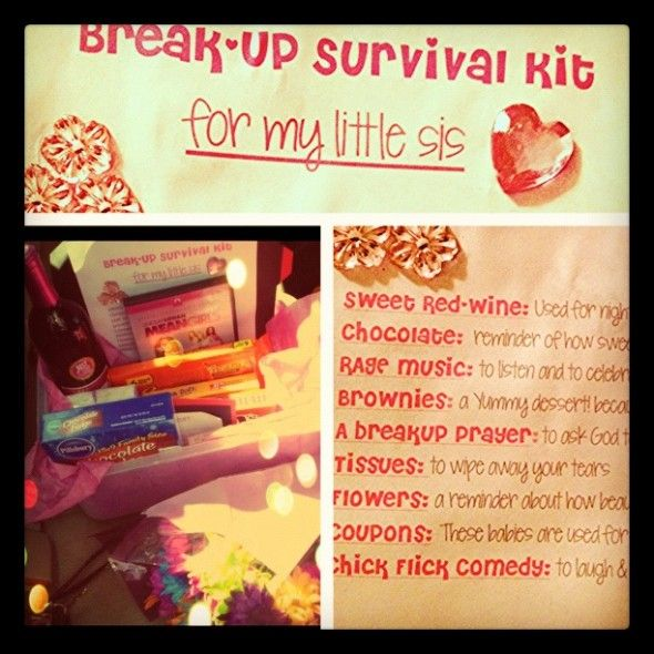 """Break-Up Survival Kit"" after a boyfriend breaks your friends heart.. Aww"