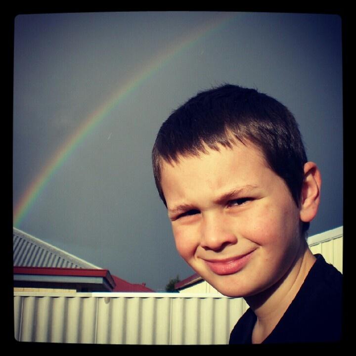 Spunky Dylan under a Rainbow.