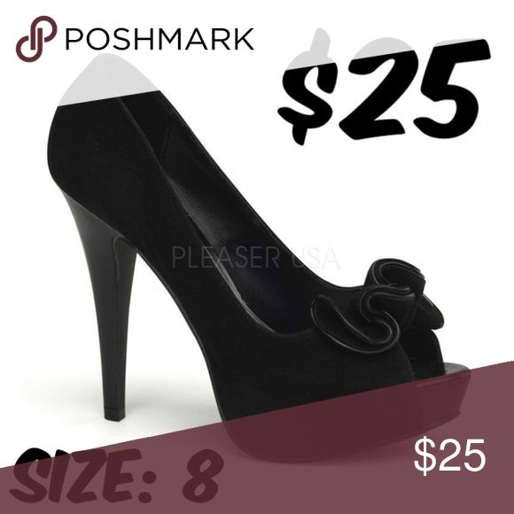 "Peep Toe Pin Up Shoes High Heels Black Suede Peep Toe Pin Up Shoes High Heels Black Suede 5"" Heel CONDITION: GOOD. USED AS STORE SAMPLE.  #C12 Shoes Heels"