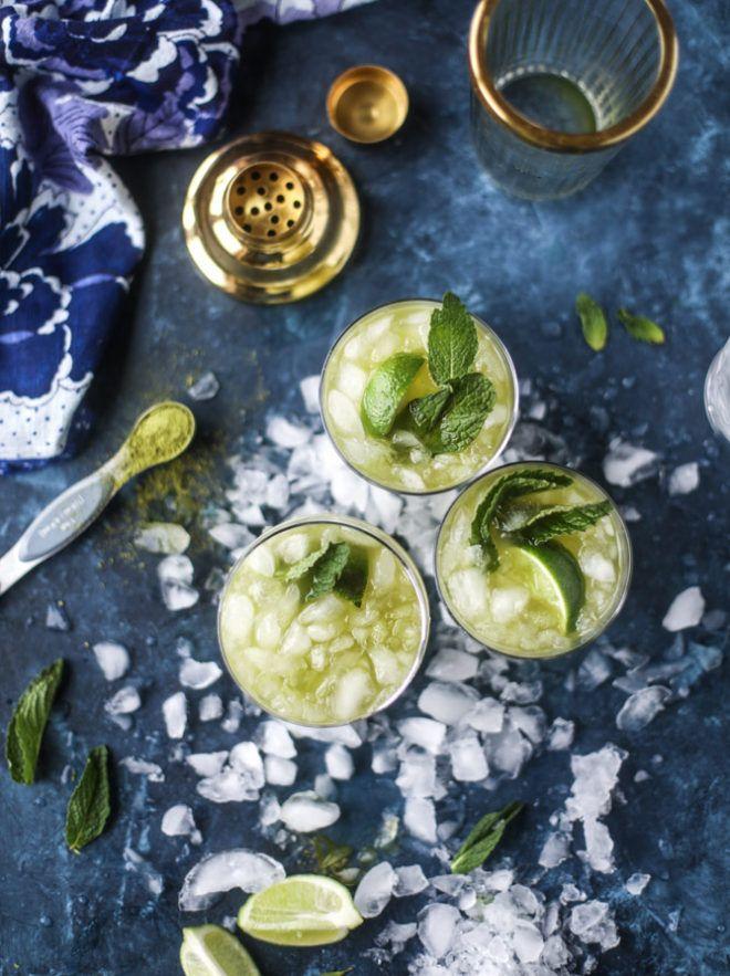 Matcha Ginger Kombucha Fizz | Dairy free, gluten free, and vegetarian. | Click for healthy recipe. | Via How Sweet Eats