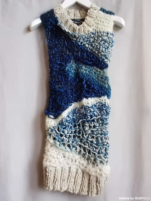 blue silk-mohair-cotton-wool knitted sweater with crochet patchwork.