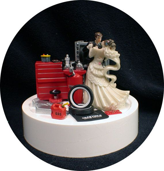 Funny Groom Mechanic Cake Topper With Antique Chevy Truck