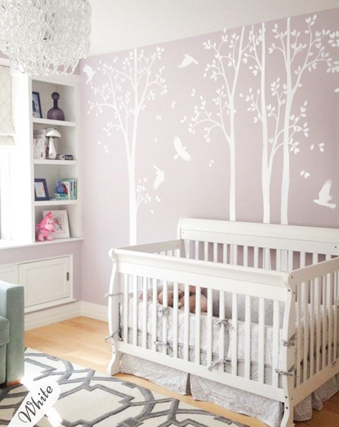 Lovely Unisex Multicolored White Large set of nursery tree decals with birds White tree decals Wall tattoos