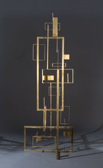 CONSTRUCTION, 1953  Brass  88 1/2 x 32 3/4 x 32 1/8 inches  Signed: SG (top edge of low narrow horizontal bar)