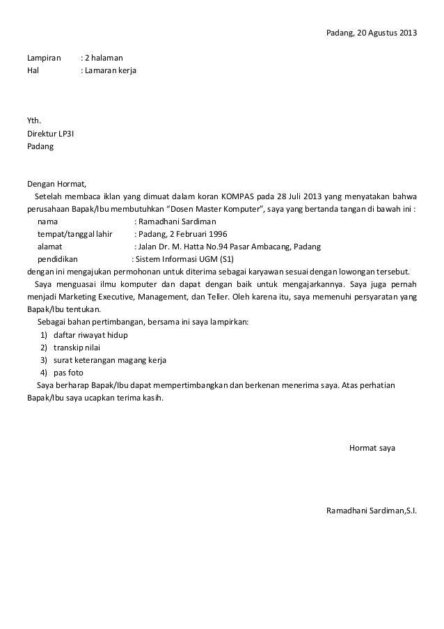 Contoh Surat Lamaran Kerja Di Bank Kalsel Surat Periklanan Kerja
