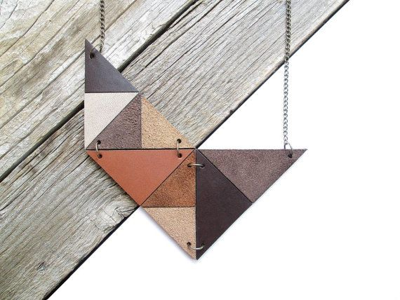 Geometric Leather Necklace Statement Leather Necklace by NasuKka, $68.40