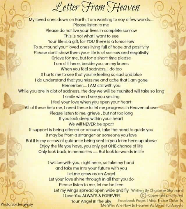 Letter from Heaven | Quotes, Inspirations, Poems and stories ...