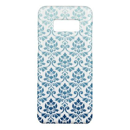 Feuille Damask Pattern Gradient Dk Blue-Teal on Wt Case-Mate Samsung Galaxy S8 Case  $35.60  by NataliePaskellDesign  - custom gift idea