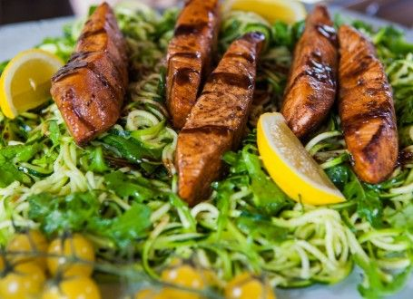Use a spiralizer to make Earl Grey Pan-Glazed Salmon with Lemon Courgetti