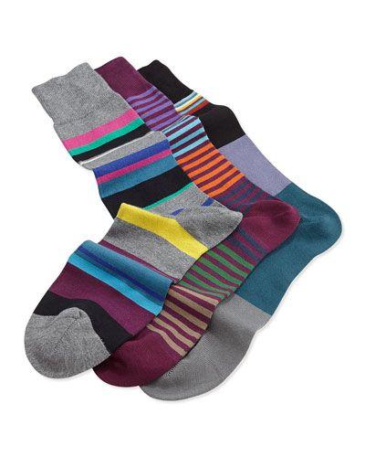 Men's striped briefs and socks by #PaulSmith Paul Smith Men's Multi-Striped 3-Pair Sock Set, Purple