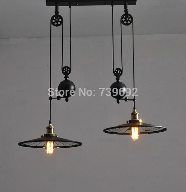 Vintage RH Loft Industrial LED American Country Pulley Pendant Lights Adjustable Wire Lamps Retractable Bar Decoration Lighting