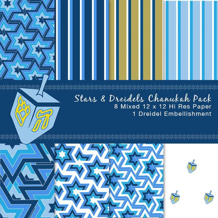 Stars & Dreidels Chanukah Pack by GreetingsFromLisa on Etsy