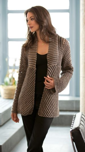 Glamour Jacket free knitting pattern | Neat construction with stripes made by alternating single and double stranded knitting. This and more free coat and jacket knitting patterns at http://intheloopknitting.com/jacket-and-coat-knitting-patterns/