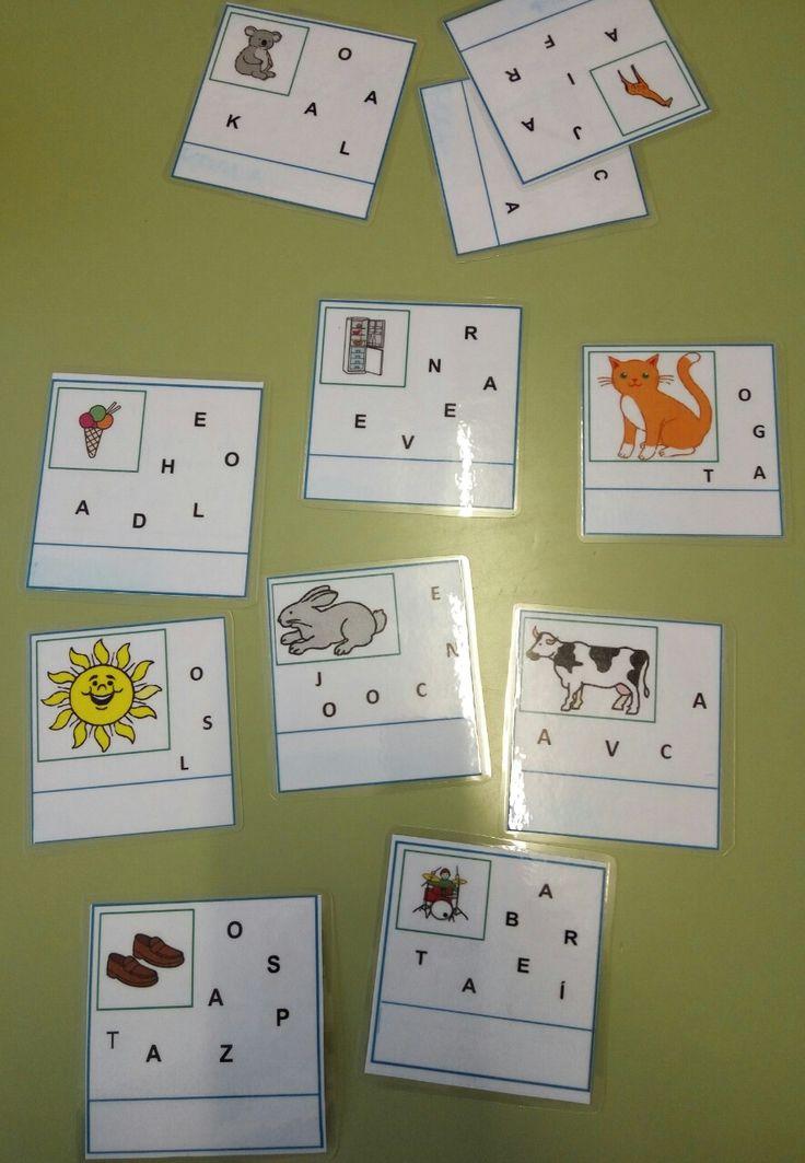 tarjetas fonológicas para ordenar letras y formar palabras
