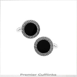 Silver Aztec with Black Inset Cufflinks