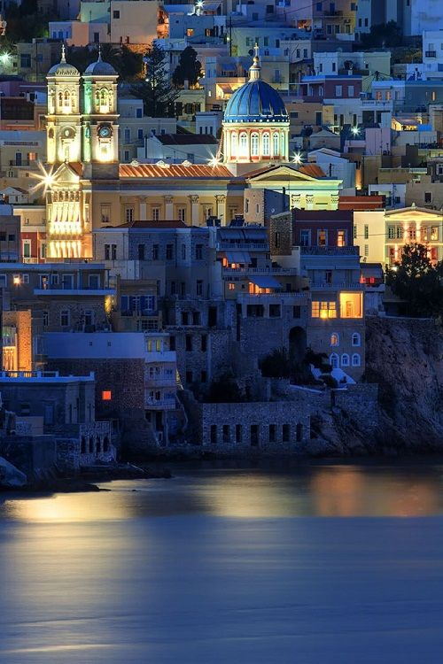 Picturesque City of Hermoupolis, Syros, Greece, at dusk by Antonis Lemonakis