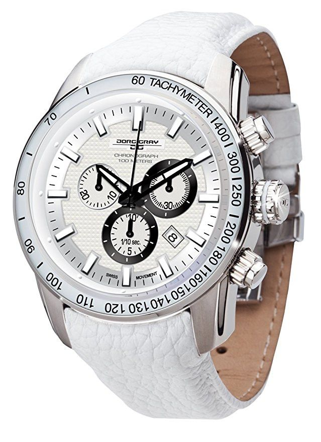 Jorg Gray JG3700-33 Men's White Watch Swiss Chronograph Movement White Leather Strap
